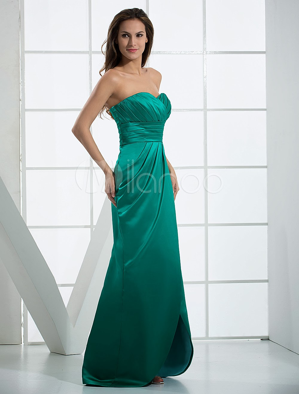 China Wholesale Dresses - Hunter Green Strapless Sweetheart Floor Length Satin Evening Dresses