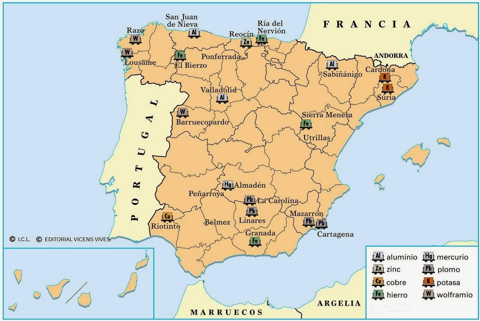 Blog de biologia mapa de yacimientos en espa a - Granito en espana ...