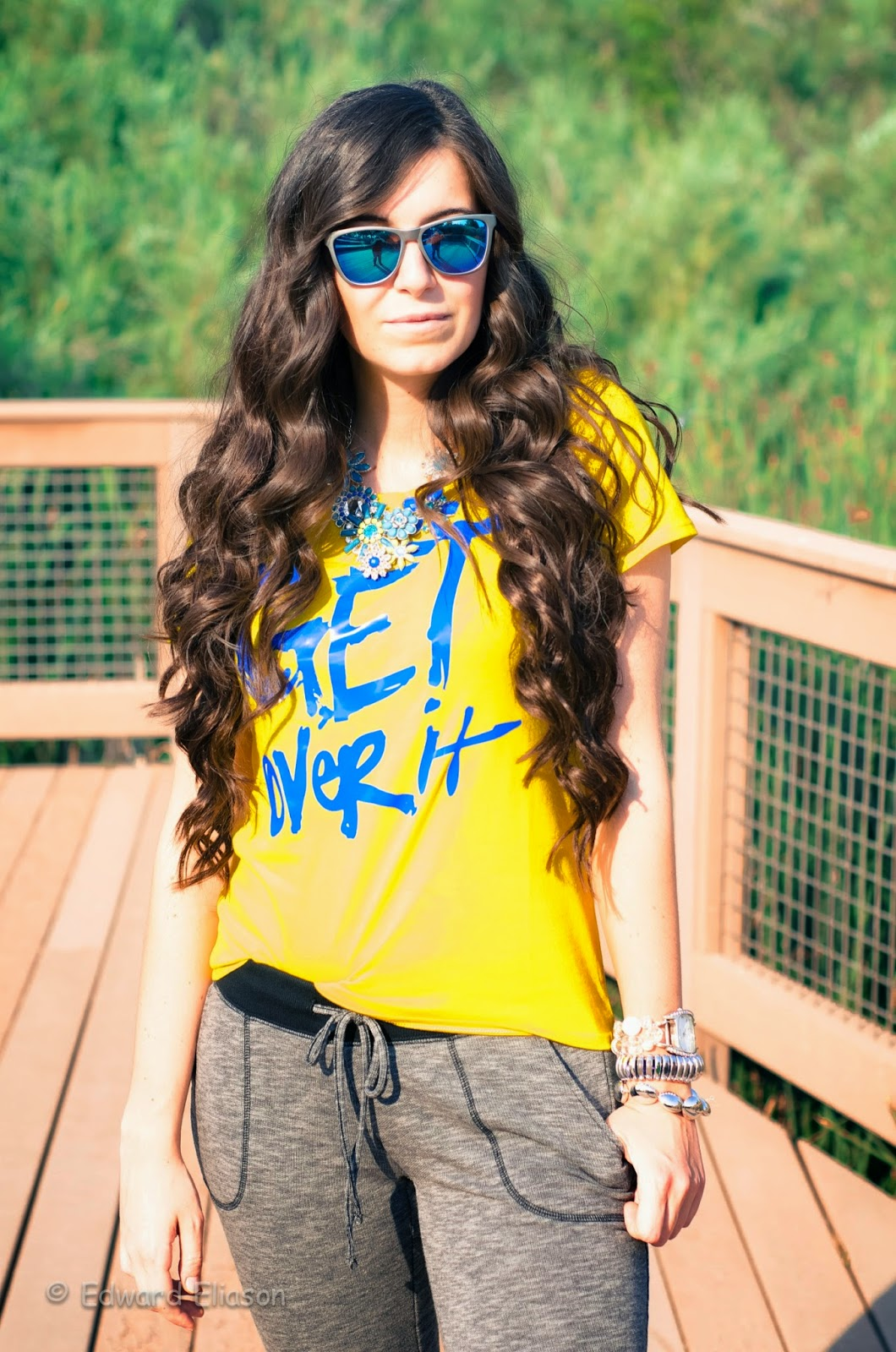 sunglasses, kameleonz sunglasses, lifes a beach, giveaway, slouchy outfit, casual outfit, sweats outfit, graphic tee outfit, sketchers, jcpenneys, summer time casual, casual summer, casual summer time,