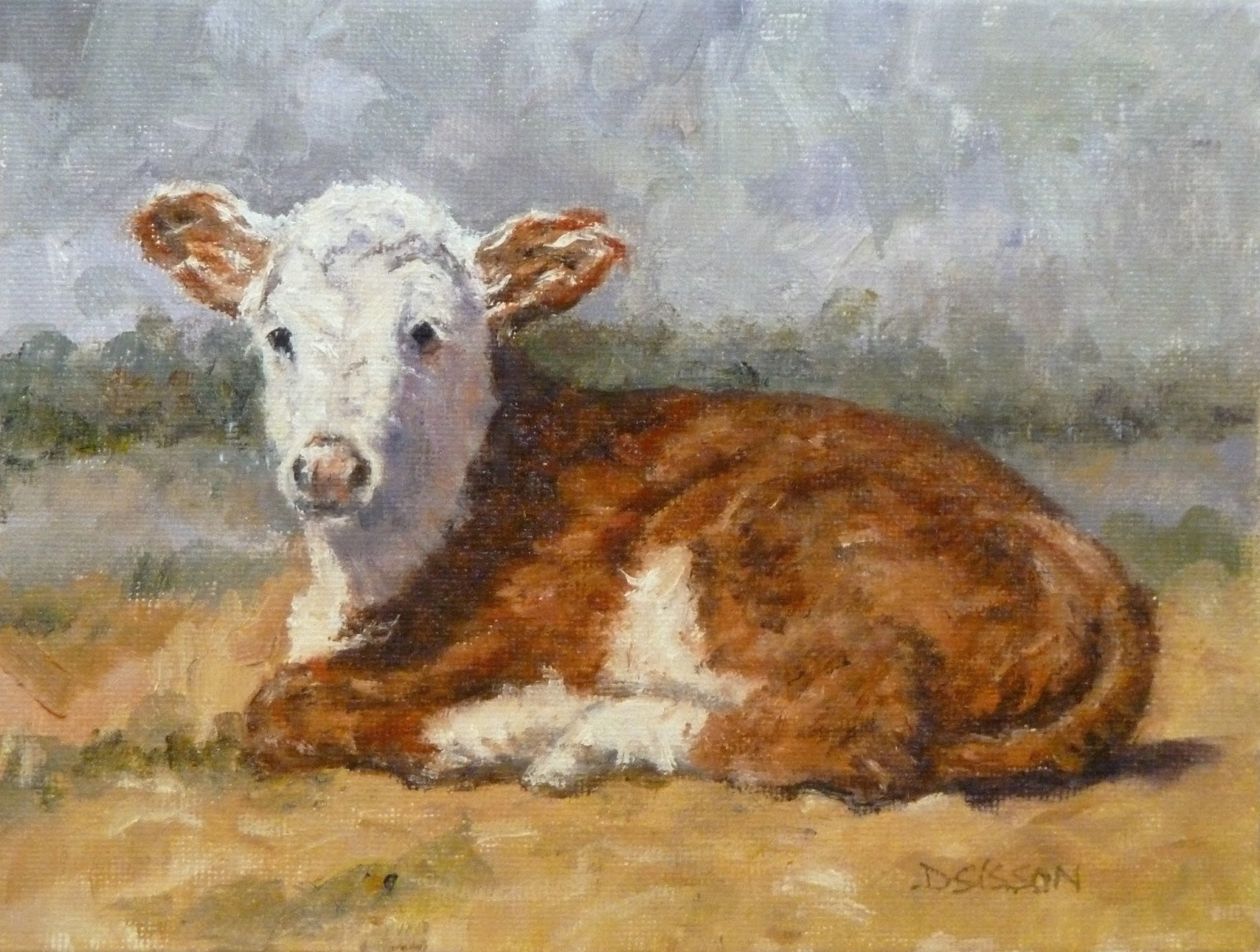 Daily painting projects hereford calf oil painting cow for Animal oil paintings