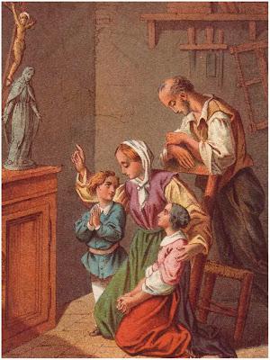 Familia rezando ante una Imagen de la Virgen y de Jesus Crucificado