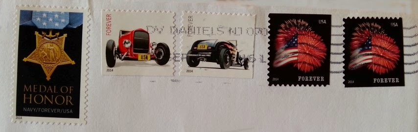 Affrancatura USA serie Hot Rods, Medal of Honor, Flags Fireworks