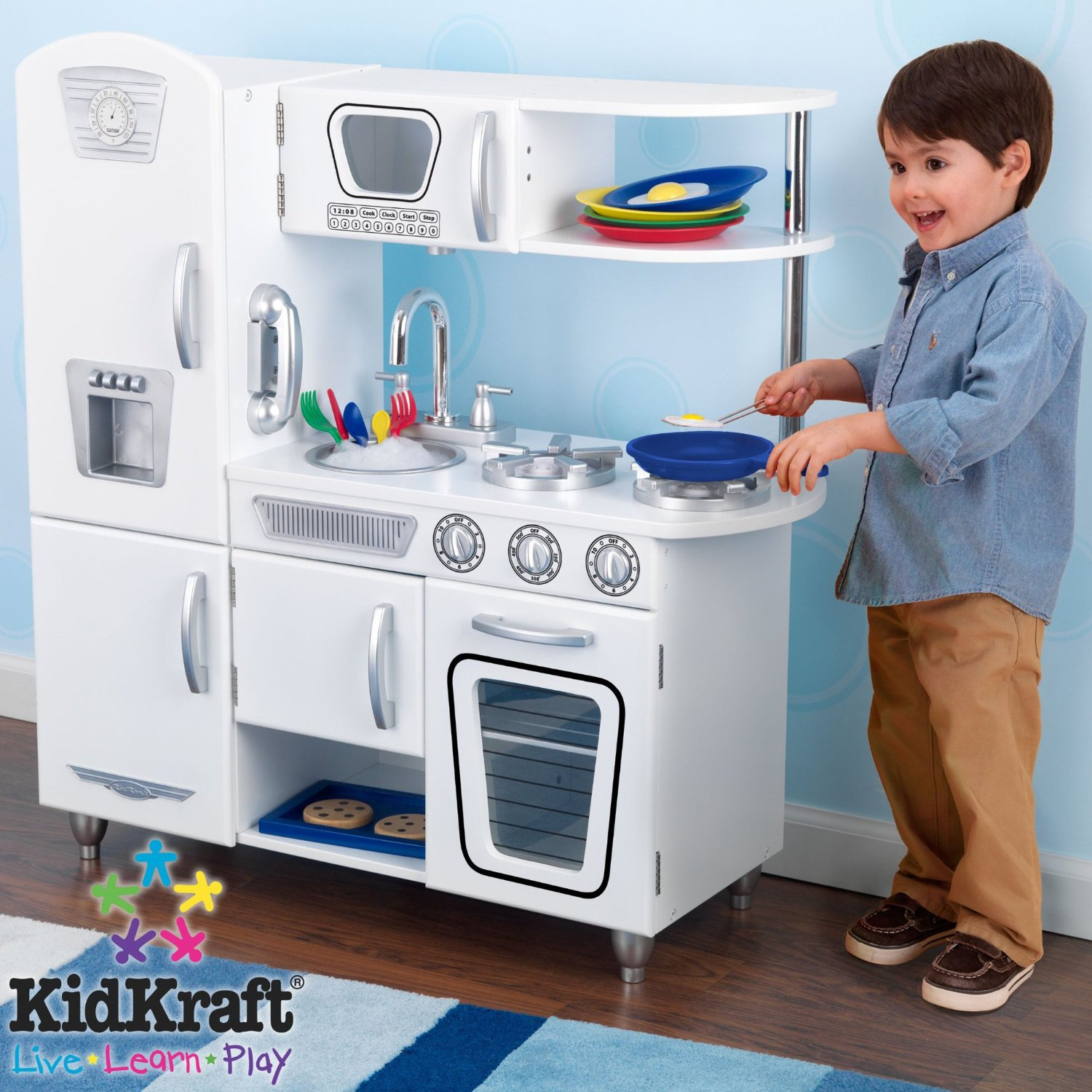 a lovely little life play kitchen - even boys will want to play with it