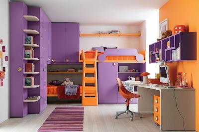 dormitorio lila y naranja