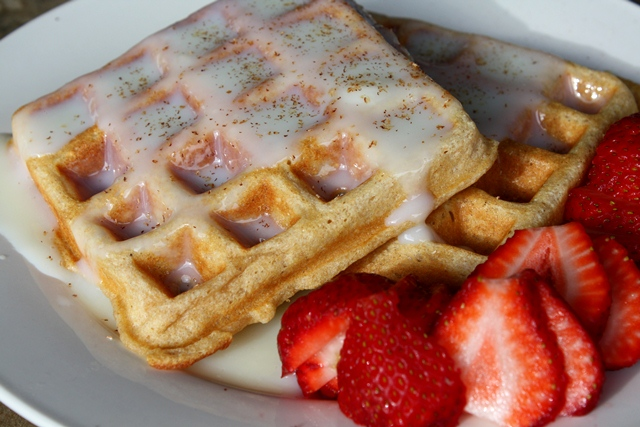 Whole Wheat Waffles with Waffle Sauce recipe by Barefeet In The Kitchen