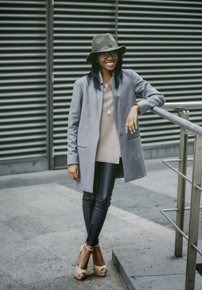 Nia A in  grey Cos Wool Cashmere Long Blazer AW13 and KG heels Aldo Trilby