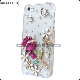 3D pink rose clear case for iphone 5
