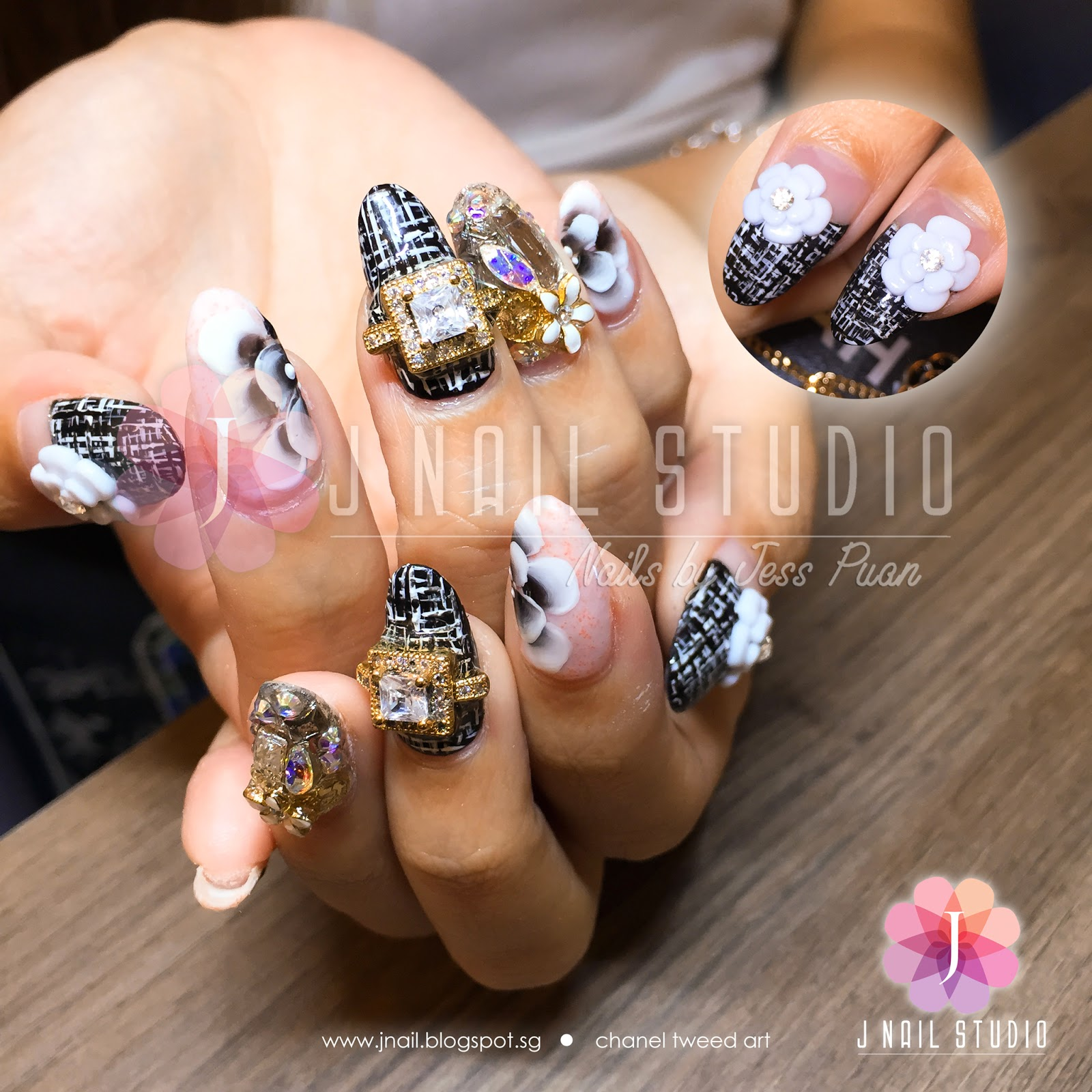 J Nail Studio Chanel Tweed Art