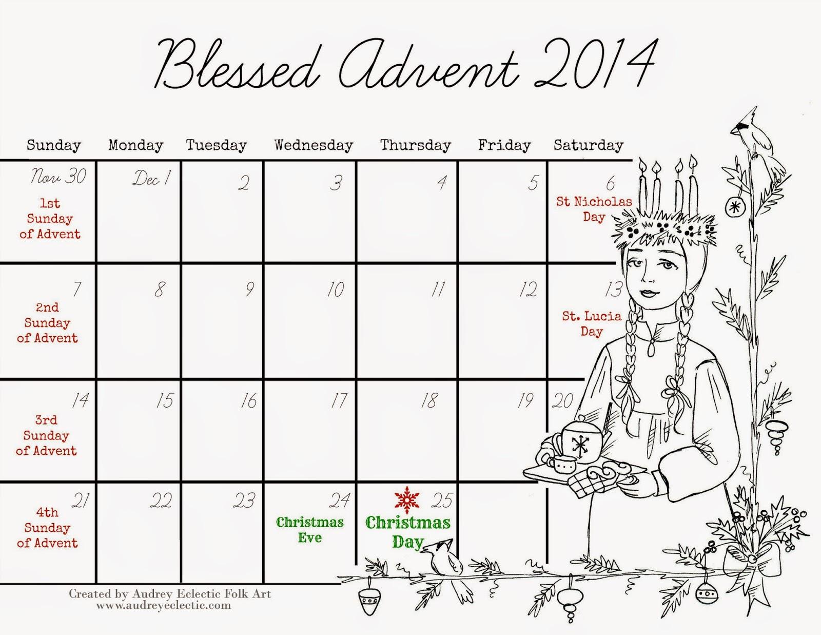 Catholic Advent Calendar 2015 Printable | Calendar Template 2016