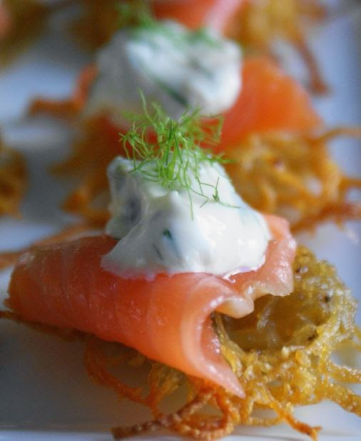 Smoked salmon rosti canapes photo and recipe lucy corry for Canape recipes jamie oliver