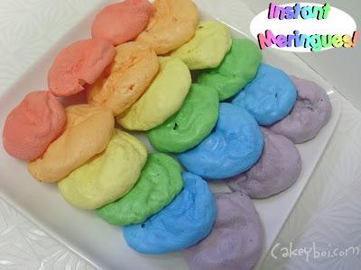 microwave meringues, rainbow meringues