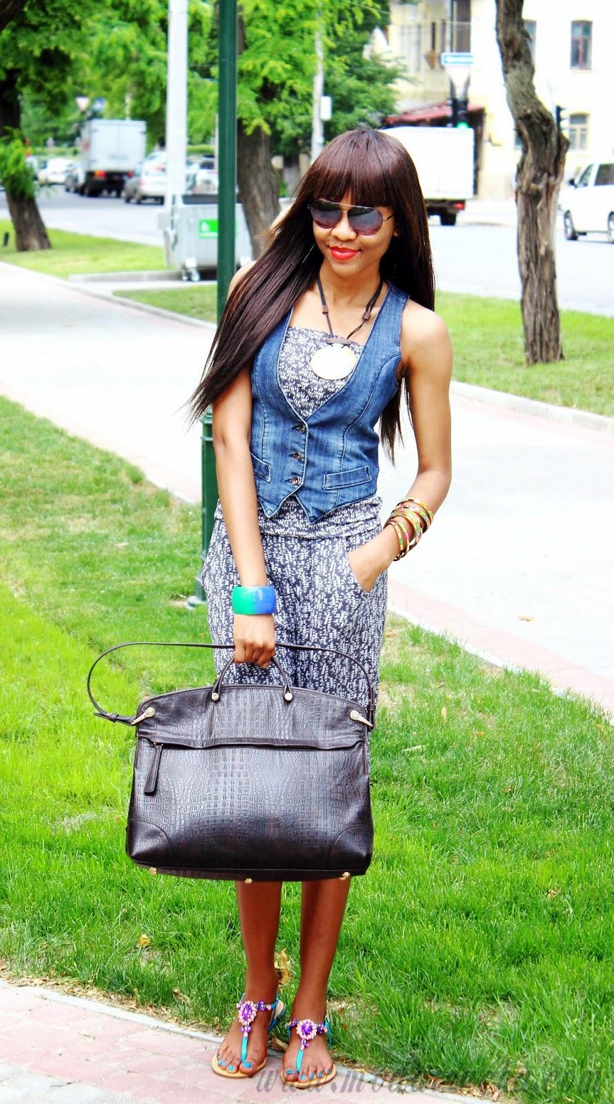 fashion denim sleeveless coat