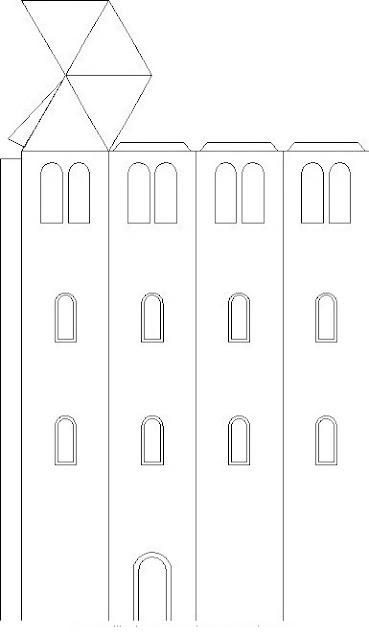 Edificio para armar, colorear y pintar ~ 4 Dibujo