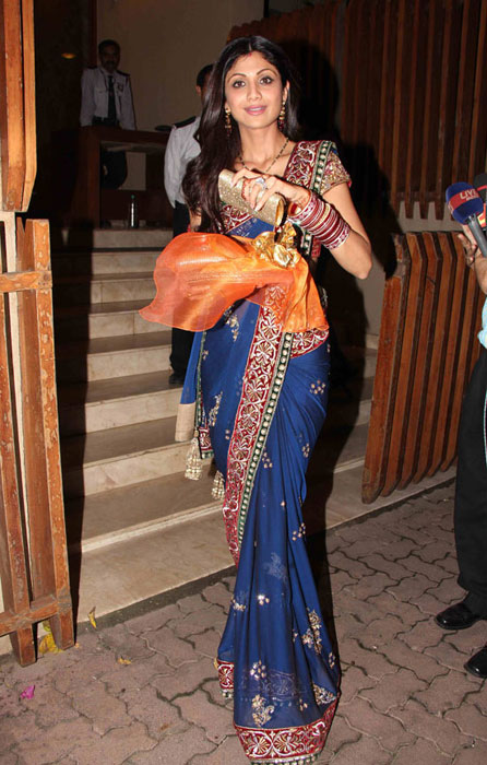 Bollywood Actress Shilpa Shetty in blue Saree Photos