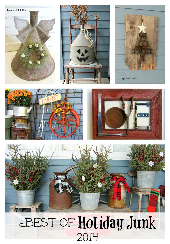 Decorating for the Holidays with Junk www.organizedclutterqueen.blogspot.com