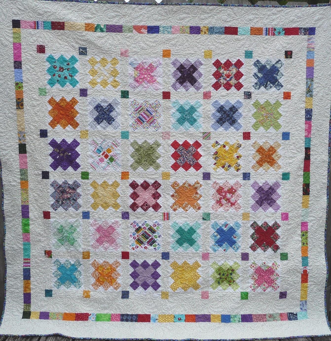 Quilting on the crescent rainbow scrap quilt 1 0 for Scrap quilt