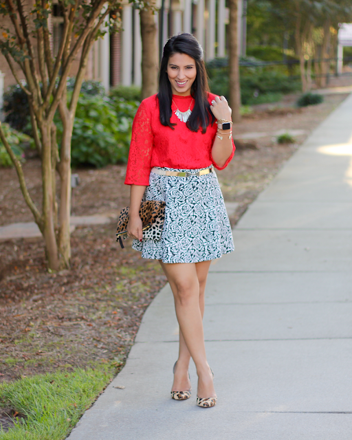 red lace crop top, red lace high neck, black and white skater skirt, fringe necklace, leopard heels, clare v. leopard clutch, clare v leopard, pink lipstick