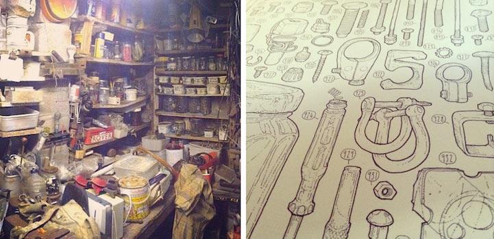 Artista celebra a su difunto abuelo dibujando los 100.000 artículos en su cobertizo de herramientas