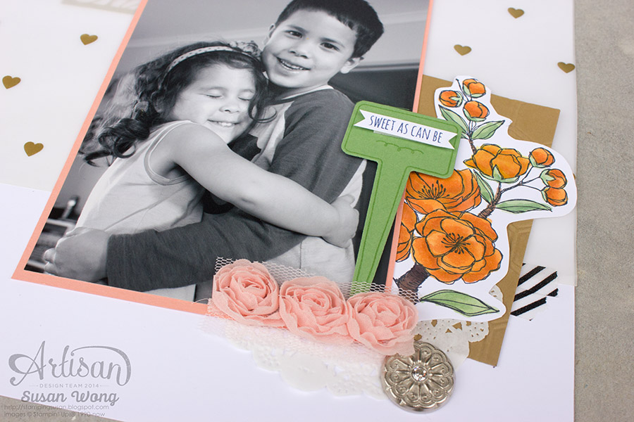 Cluster those embellishments! Sibling Layout ~ Susan Wong