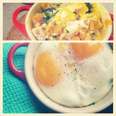 Baked eggs with sweet potato, onion, and kale for a primal paleo breakfast