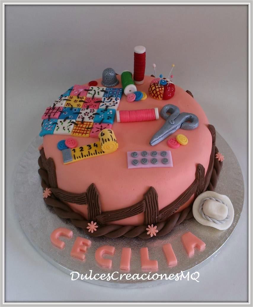 Tarta patchwork costurero manualidades Pastel Torta Fondant Pasta de Azúcar Aniversario Cumpleaños Adultos Modelado Mujer Dulce Bizcocho Cake Mariela dulcescreaciones