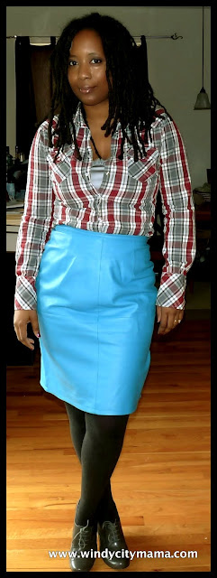 Turquoise leather skirt