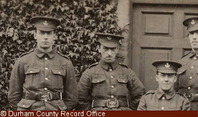 Members of 18th Battalion, DLI, at Cocken Hall, one soldier also appears on the photograph below, 1914-1915 (D/DLI 2/18/24(108))