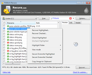 select a file to recover.