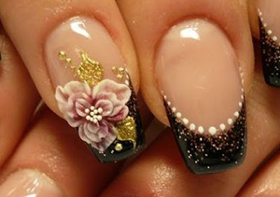 elegant+black+french+with+flower French Manicure with Flowers