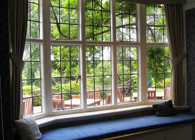 Window seat with view into garden