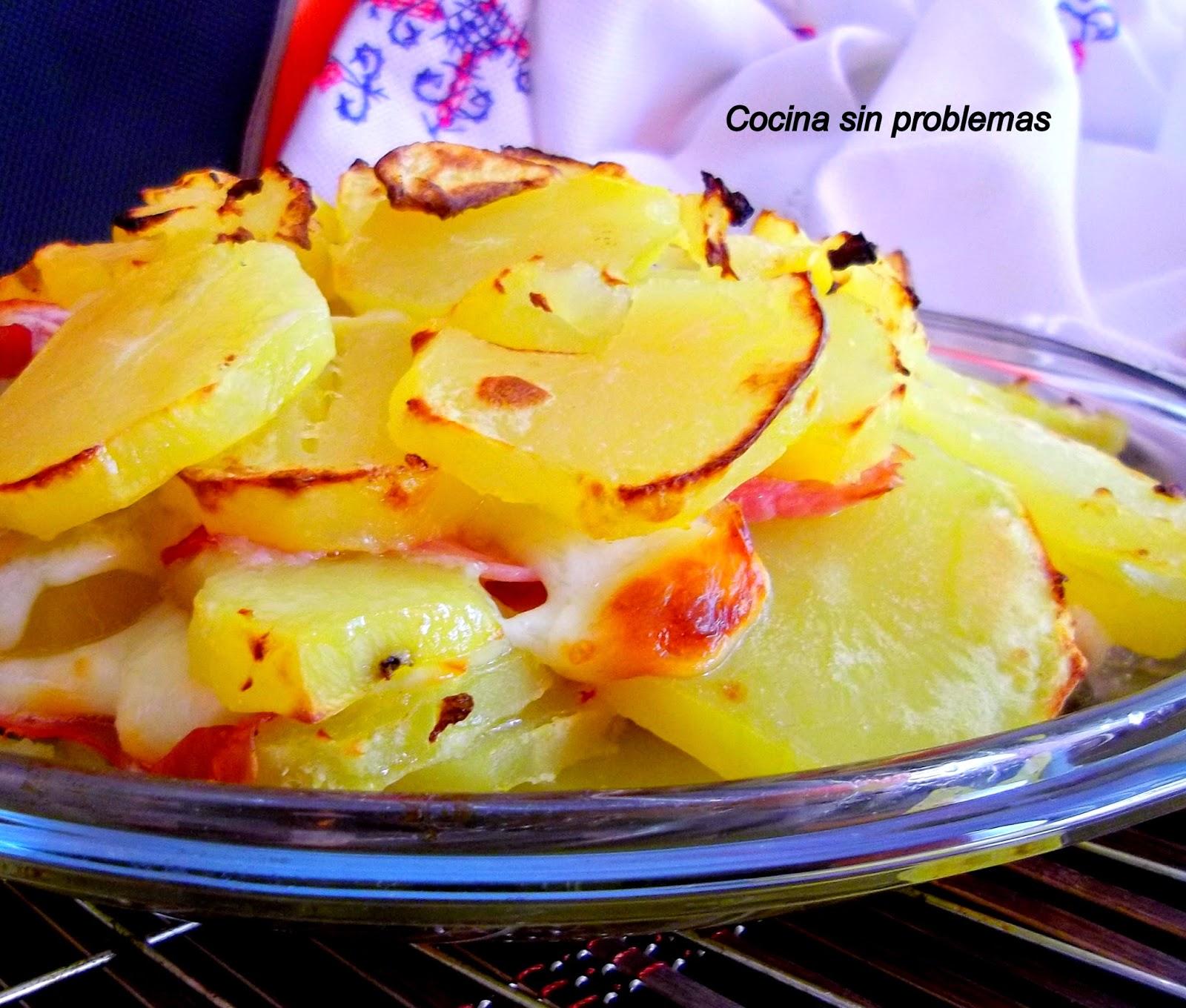 Cocina sin problemas gratinado de patata jam n y queso - Gratinado de patata ...