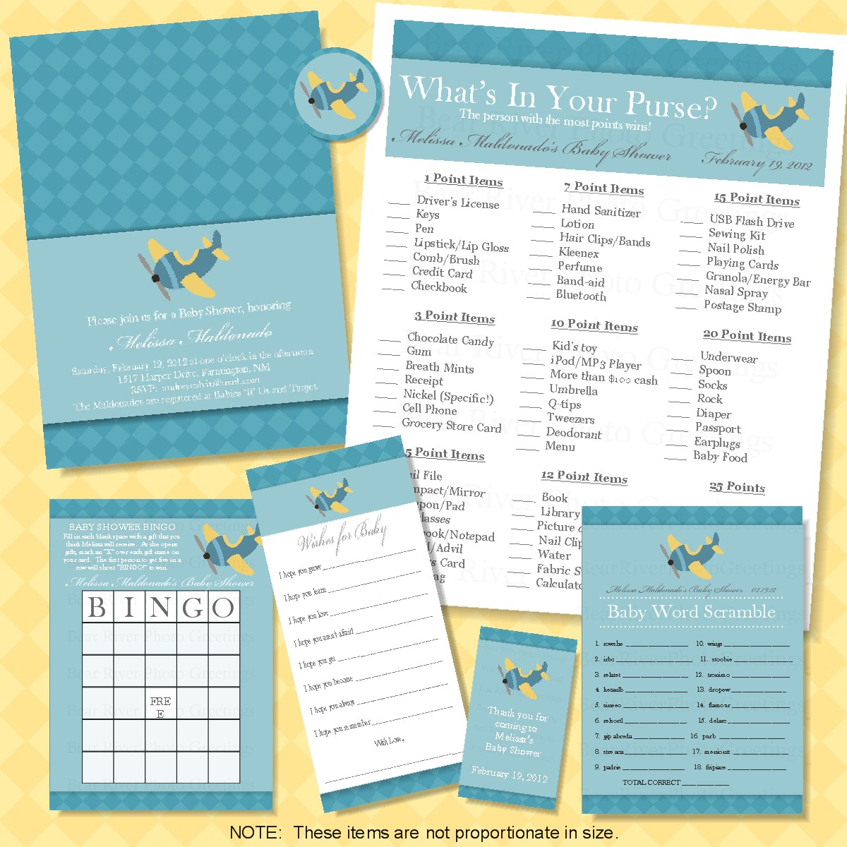 Airplane Baby Shower Printables 1200 x 1200