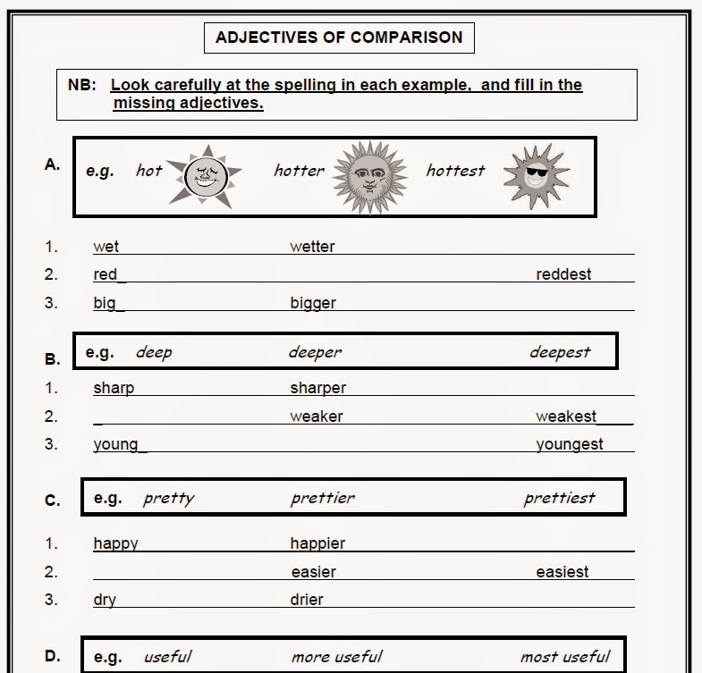 Warren Sparrow Adjectives of Comparison worksheet – Adjectives That Compare Worksheets