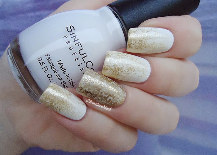 Silvia Lace Nails: White and gold sponging nail art