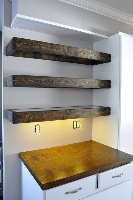 DIY Aged Wood Floating Shelves
