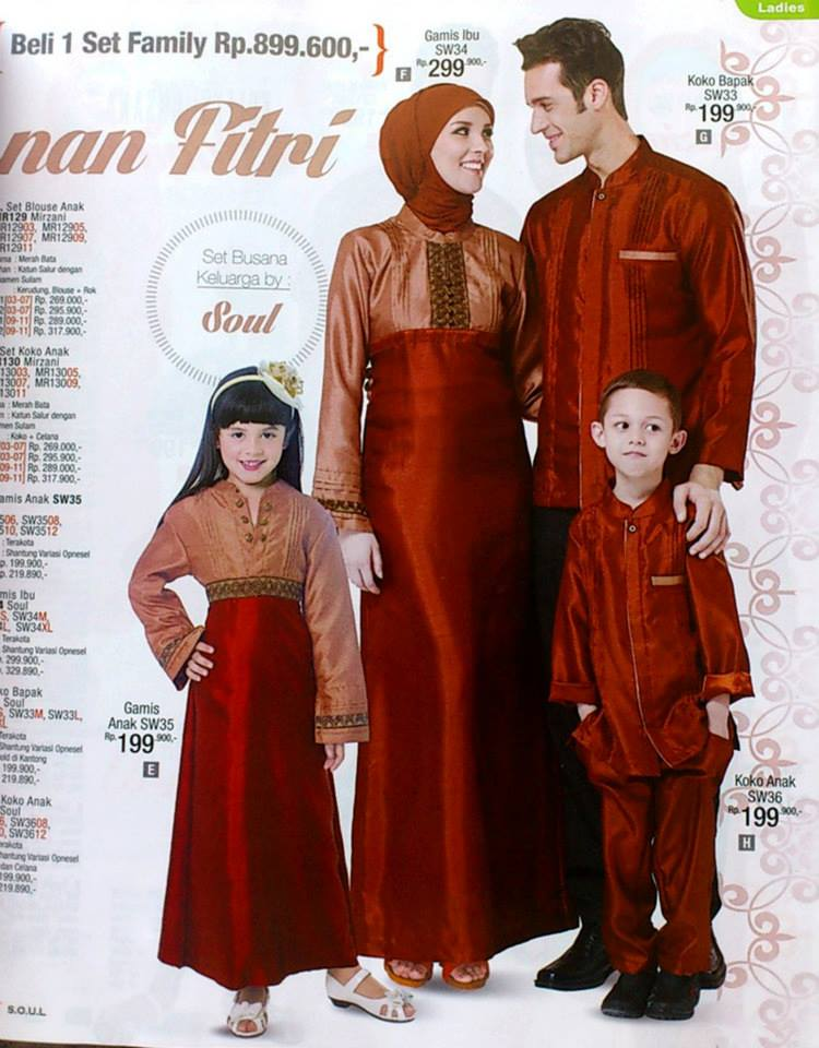 Baju muslim modern 2013 Baju gamis couple ibu ayah anak