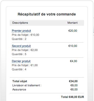 Ticket Paypal avec panier d'achat TVA et Frais transmis par Payzen