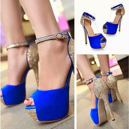 New style blue hot girls high heels