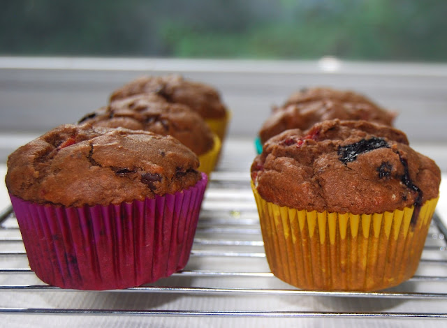 Whole wheat and vegan chocolate berry muffins