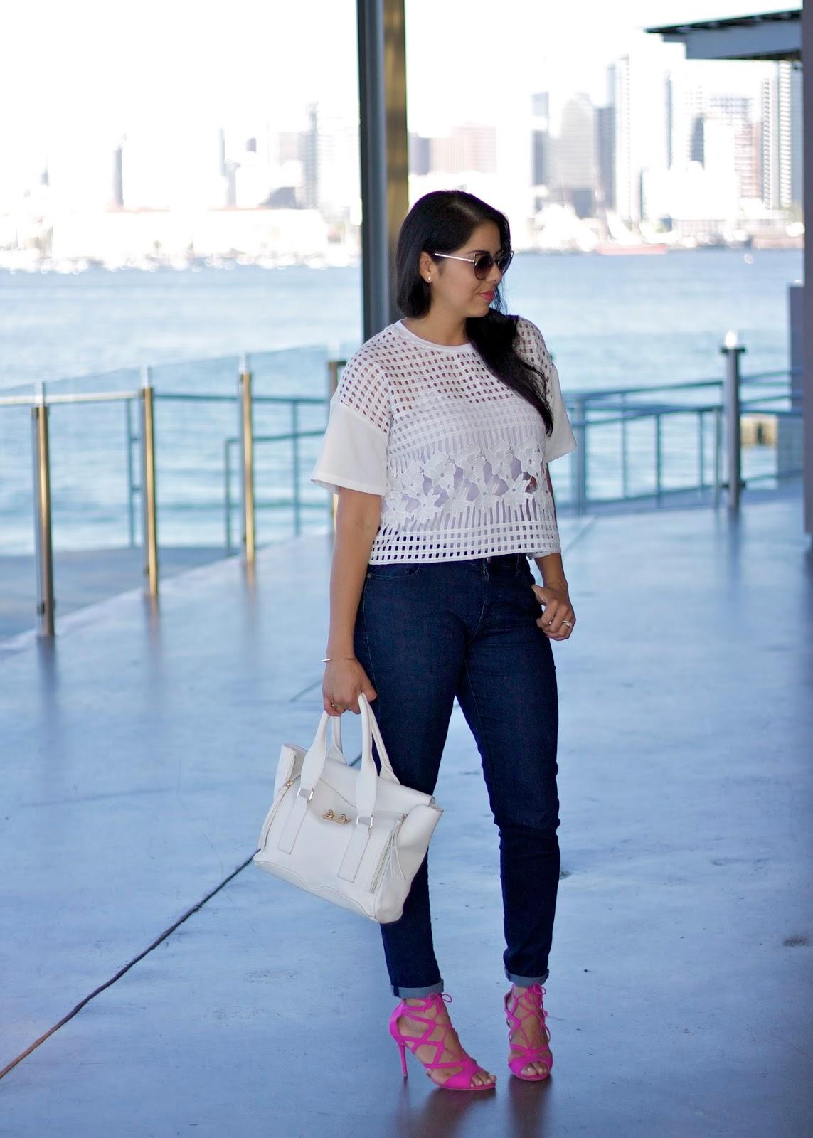 Justfab pink sandal heels, socal latina, cabi denim, cabi blogger
