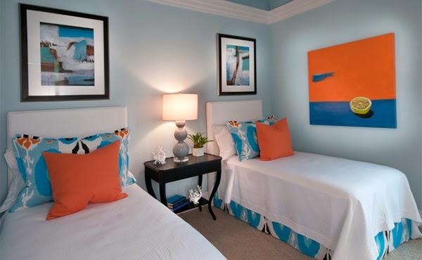 Orange et bleu combiné ressemble ludique et agréable La literie est