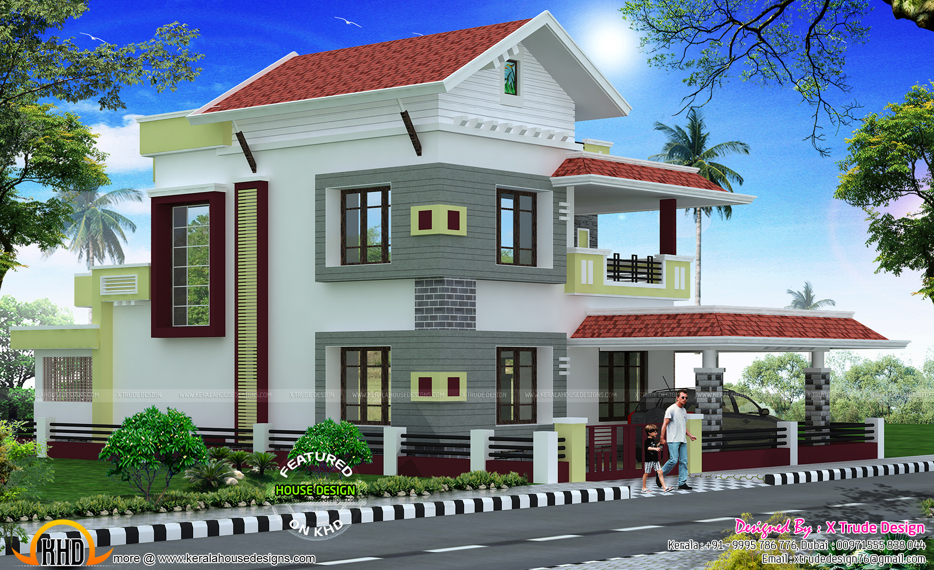 2581 sq ft house by x trude design kerala home design for Side view house plans