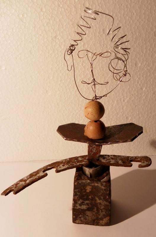 Sculpture métal Monsieur recyclage artistique