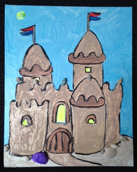 so if you did not get enough sand painting action with my previous post heres another one with a summer sand castle theme enjoy - Painted Wood Castle 2015