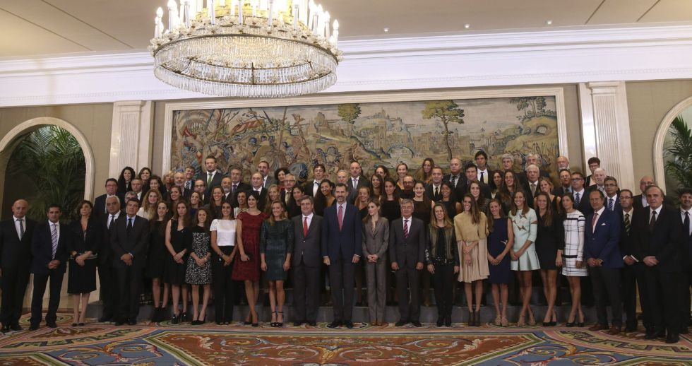 King Felipe VI of Spain and Queen Letizia of Spain meet waterpolo and swimming pool teams members that joined the European Championships at Zarzuela