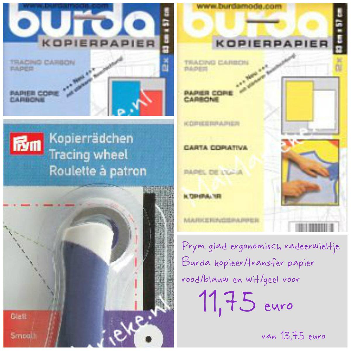 Prym radeerwieltje met Burda kopier/transfer papier, aanbieding