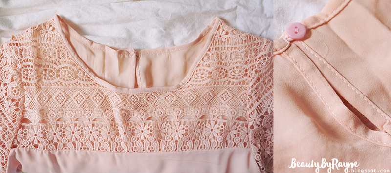 Pink Short Sleeve Hollow Lace Loose Blouse SheIn