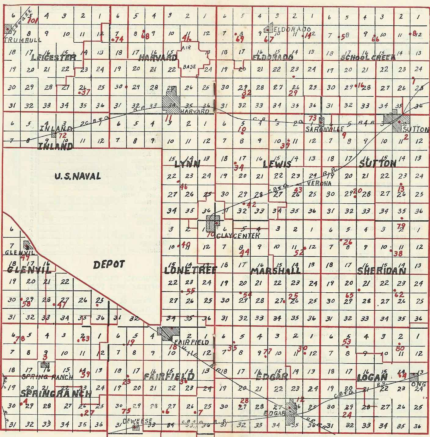 1953 1954 rural school map from the clay county nebraska educational directory mary w rippeteau county superintendent