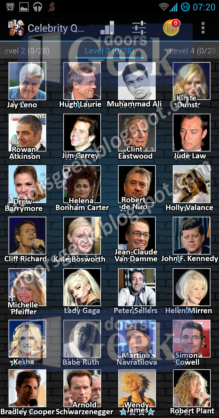 Celebrity quiz answers level 27