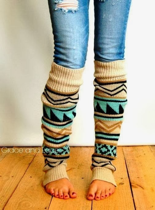 Adorable Winter Aztec Tribal Print Leg Warmer and Suitable Jeans